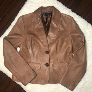 INC International Concepts Caramel Leather Blazer